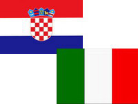 Flags of Croatia and Italy